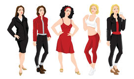 Woman character in different clothes and pose. Vector illustration of woman character in different clothes and pose isolated on white background Stock Photos