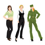 Woman character in different clothes and pose Stock Image