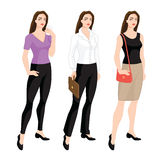 Woman character in different clothes Stock Images