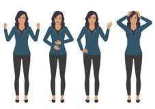 Woman character expressions with hands gesture, cartoon. Vector illustration of a woman character expressions with hands gesture, cartoon businesswoman wit Stock Image