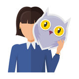 Woman Character in Jacket with Owl Mask in Hand. Vector. Flat design. Masquerade animal clothing and party costume. Psychological portrait and hidden Stock Photography
