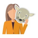 Woman Character in Jacket with Wolf Mask in Hand. Vector. Flat design. Masquerade animal clothing and party costume. Psychological portrait and hidden Royalty Free Stock Photography