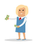 Woman Character With Money Vector Illustration. Female character with bundle of money vector. Flat style design. Blonde smiling woman in blue strict dress Royalty Free Stock Images