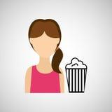 Woman character pop corn cinema design. Illustration eps 10 Stock Photos