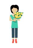 Woman Character Template Vector Illustration. Female character without face with flowers vector in flat design. Woman template personage figure illustration for Stock Image