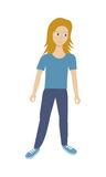 Woman Character Vector Illustration in Flat Style Stock Photos