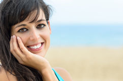 Woman charming face on summer royalty free stock image