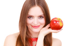Woman charming girl colorful makeup holds apple fruit Stock Images