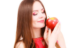 Woman charming girl colorful makeup holds apple fruit Royalty Free Stock Photos