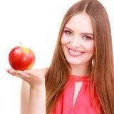 Woman charming girl colorful makeup holds apple fruit Stock Photos