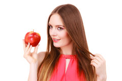 Woman charming girl colorful makeup holds apple fruit Royalty Free Stock Images
