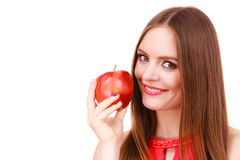 Woman charming girl colorful makeup holds apple fruit Royalty Free Stock Photo
