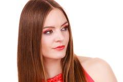 Woman charming girl long hair face makeup stock photo