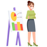 A woman with a chart chart, shows statistics.  Office character. Vector flat illustration. A woman with a chart chart, shows statistics. Vector flat illustration Stock Photo