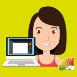 Woman chart color pc. Illustration eps 10 Stock Photos