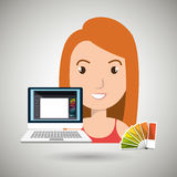 Woman chart color pc. Illustration eps 10 Stock Photography