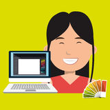 Woman chart color pc. Illustration eps 10 Royalty Free Stock Photography