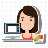 Woman chart color pc. Illustration eps 10 Royalty Free Stock Images