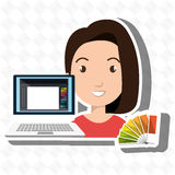 Woman chart color pc. Illustration eps 10 Stock Images