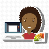 Woman chart color pc. Illustration eps 10 Stock Image