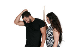 Woman Chasing man with Rolling Pin Royalty Free Stock Photo