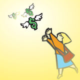 Woman Chasing Money. Business woman chases winged money that is escaping Royalty Free Stock Image