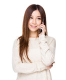 Woman chat on cellphone Stock Images