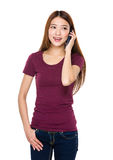 Woman chat on mobile phone Royalty Free Stock Photo