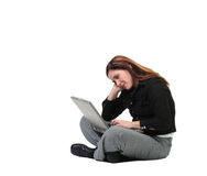 Woman chatting on her computer. Female dressed very business like enjoying her time on the internet, isolated on white, concept of cyberspace interaction Stock Photos