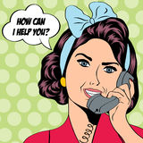 Woman chatting on the phone, pop art illustration Stock Images