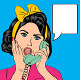 Woman chatting on the phone, pop art illustration Royalty Free Stock Photos