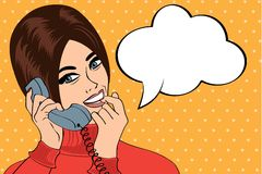 Woman chatting on the phone, pop art illustration Royalty Free Stock Image
