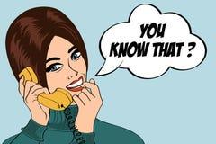 Woman chatting on the phone, pop art illustration Stock Image