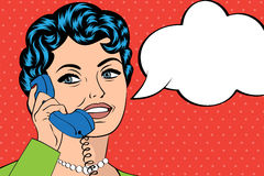 Woman chatting on the phone, pop art illustration Stock Photography