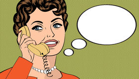 Woman chatting on the phone, pop art illustration Royalty Free Stock Photography