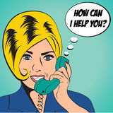 Woman chatting on the phone, pop art illustration Royalty Free Stock Images