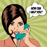 Woman chatting on the phone, pop art illustration Royalty Free Stock Photo