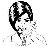 Woman chatting on the phone, pop art illustration Stock Photos