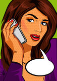 Woman chatting on the smartphone, pop art Stock Photography
