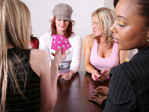 Woman Cheating at Poker stock images