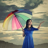 Woman Check If The Rain Stop Royalty Free Stock Photo