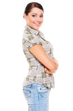 Woman in checked blouse Royalty Free Stock Images