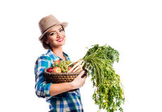 Woman, checked shirt holding basket with fruit and vegetables Stock Images