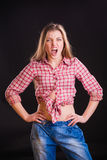 Woman in checkered shirt Royalty Free Stock Photos