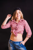 Woman in checkered shirt Stock Photo