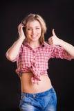 Woman in checkered shirt Stock Photos