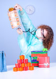 Woman checking content presents boxes stethoscope Stock Images
