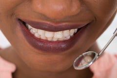 Woman Checking Her Teeth Stock Photos