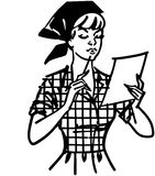 Woman Checking List royalty free illustration