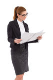 Woman checking note Royalty Free Stock Images